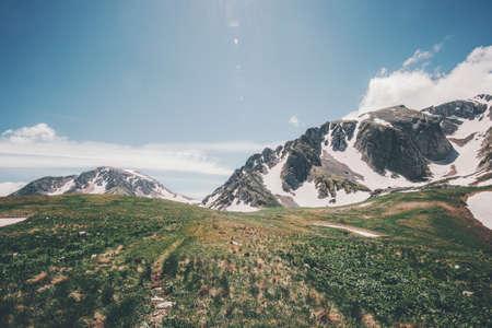 Vue Montagnes Rocheuses ciel bleu été Paysage Voyage paysage serein nature sauvage