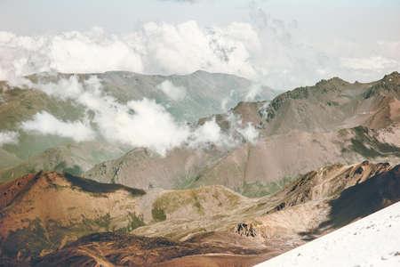 Montagnes et nuages ??Paysage Voyage Vue aérienne paysage serein nature sauvage calme scène idyllique Banque d'images