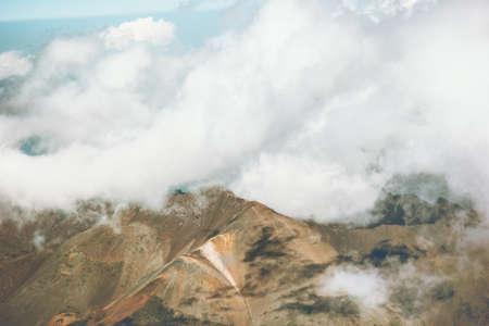Montagnes et nuages ??Paysage Voyage Vue aérienne paysage serein nature sauvage scène atmosphérique calme