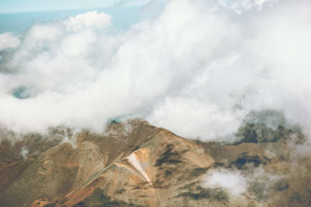 Mountains and clouds Landscape Travel aerial view serene scenery wild nature calm atmospheric scene Stockfoto