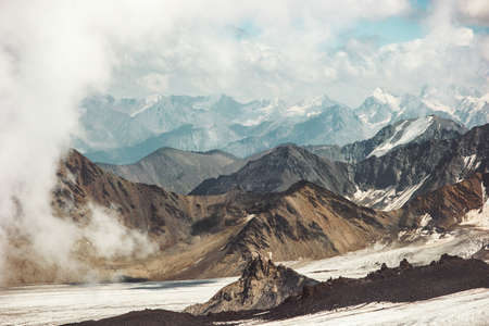 Mountains Landscape Travel aerial view from north side of Elbrus mount serene scenery wild nature calm idyllic scene Stockfoto