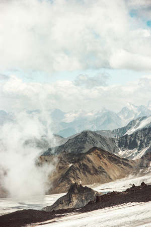 Mountains Landscape and clouds Travel aerial view serene scenery wild nature calm scene from north side of Elbrus mountain Stockfoto