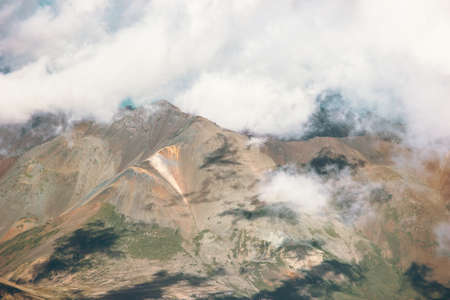 Bergen en wolken Landschap van de Reis luchtfoto serene landschap wilde natuur rust atmosferische scene