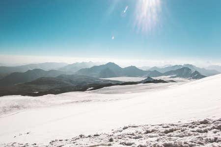 wanderlust: Mountains range Landscape glacier climbing Travel aerial view serene scenery wild nature calm atmospheric scene sunny day over 5000m altitude