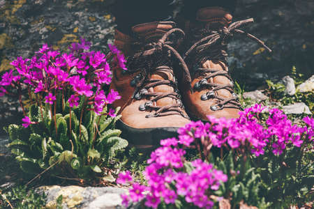 Feet trekking boots at pink flowers valley Travel Lifestyle adventure summer vacations outdoor concept Stockfoto