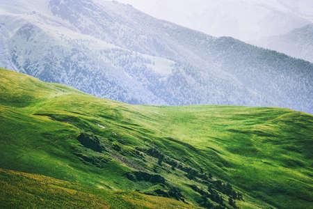Bergen luchtfoto groen vallei Landschap Zomerreizen rustig landschap Stockfoto