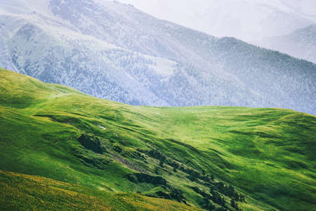 Mountains aerial view green valley Landscape Summer Travel serene scenery