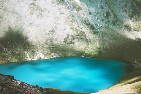 Turquoise Lake in Mountains Landscape Summer Travel serene aerial view