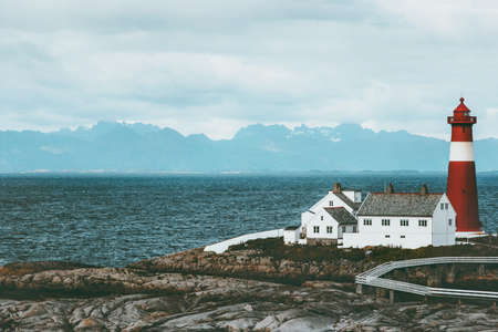 Tranoy Lighthouse Norway Landscape sea and mountains on background Travel scenery scandinavia Stock Photo
