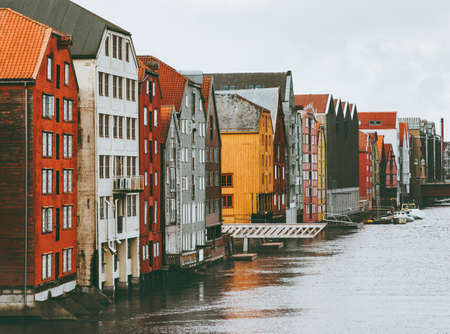Trondheim city colorful houses in Norway cityscape scandinavian traditional wooden architecture Stockfoto