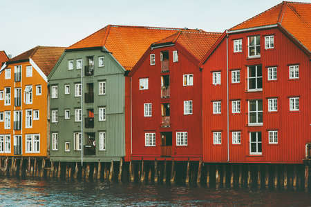 Trondheim city in Norway colorful houses on water cityscape scandinavian traditional wooden architecture Stockfoto