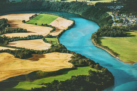 Fields and river aerial view rural Landscape nature ecology concept Banque d'images