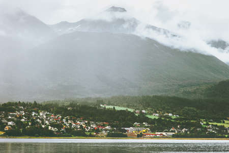 Foggy Mountains Landscape in Norway Travel scenery