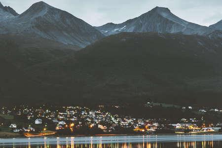 Night Mountains above village Landscape in Norway Travel scenery scandinavian nature Stockfoto