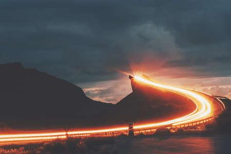 Atlantic road in Norway night Storseisundet bridge over ocean way to sky scandinavian travel landmarks