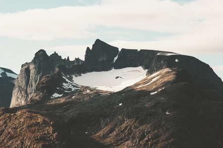 Rocky Mountains Landscape Romsdal Alps in Norway Travel scenery scandinavian nature Stockfoto