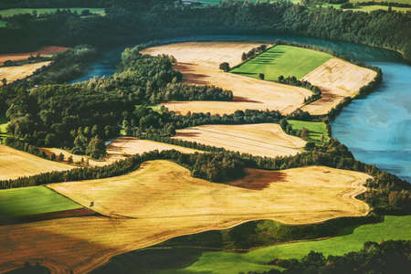 Fields and river aerial view rural Landscape in Norway nature ecology concept