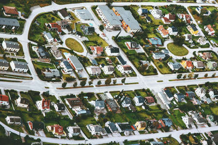 City streets houses and roads aerial view Cityscape background Stockfoto