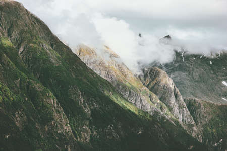 Foggy Mountains Landscape Romsdal Alps in Norway  Travel scenery scandinavian nature Stockfoto