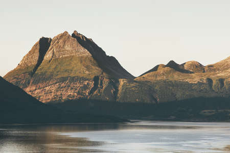 Mountains and fjords sea Landscape in Norway Travel scenery scandinavian nature Stockfoto