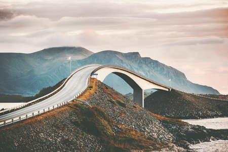 Atlantic road in Norway Storseisundet bridge over ocean scandinavian travel landmarks