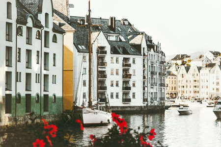 Alesund city houses in Norway cityscape scandinavian traditional architecture