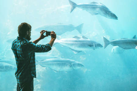 Man taking photo using smartphone of fish in big aquarium Travel Lifestyle concept modern technology