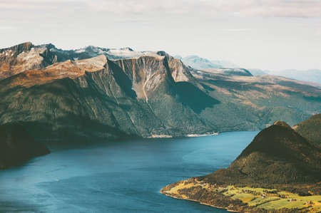 Fjord and Mountains Landscape in Norway Travel scenic aerial view