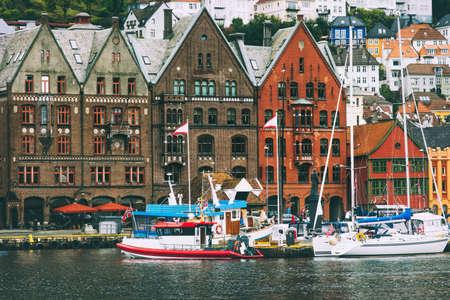 Bergen city Bryggen street old historical houses in Norway cityscape scandinavian traditional scandinavian architecture