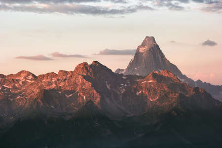Rocky Mountains peaks sunset Landscape Summer Travel wild nature scenic aerial view
