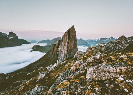 Norway landscape Segla Mountain rocky peak Travel scenery Senja islands Imagens