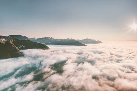 Clouds and mountains aerial view landscape in Norway Imagens