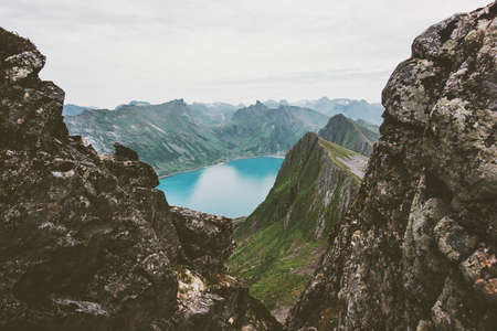Mountains over fjord landscape in Norway aerial view Travel vacations scenic Senja islands
