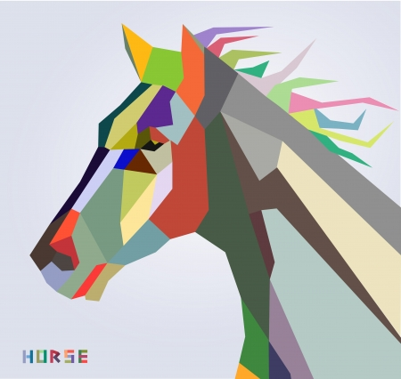 Horse head symbol of New Year 2014 trendy style geometric vector  Vector
