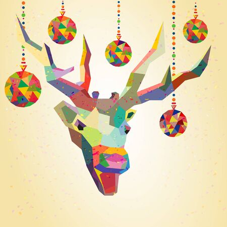 Deer trendy hipster style with christmas balls in vector Stock Vector - 23019625
