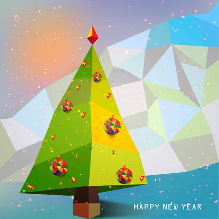 Christmas Tree with Snowflakes symbol of New Year vector  Illustration