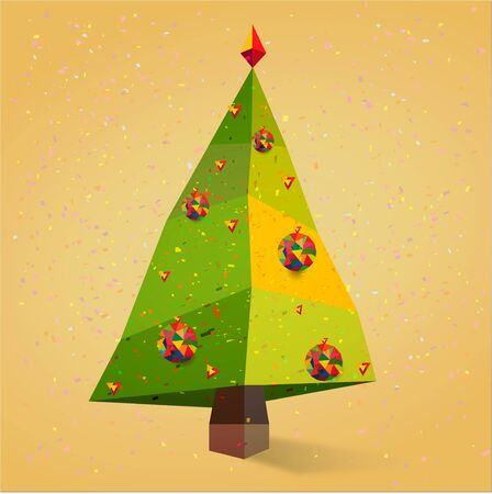 Christmas Tree with Snowflakes New Year Holiday vector