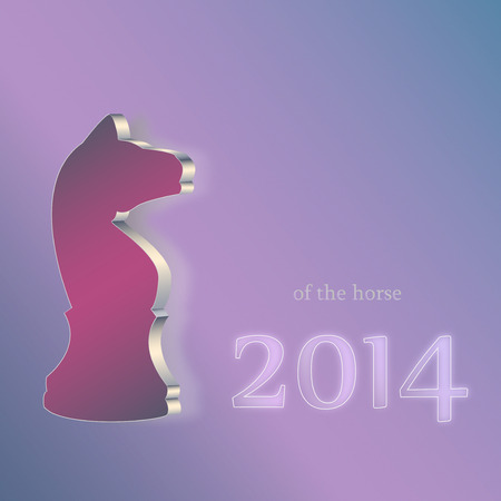 Horse Chess figure symbol of New Year 2014 greeting card vector  Illustration