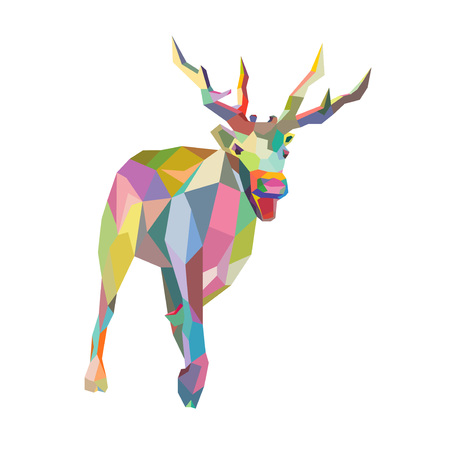 santa moose: Christmas Deer trendy hipster style geometric shapes in vector  Illustration