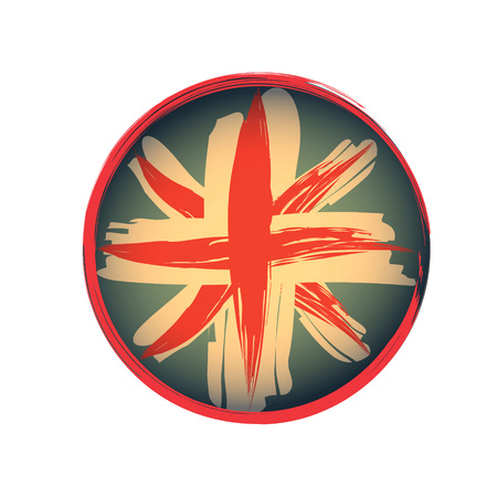 British Flag Emblem Grunge style rounded in vector