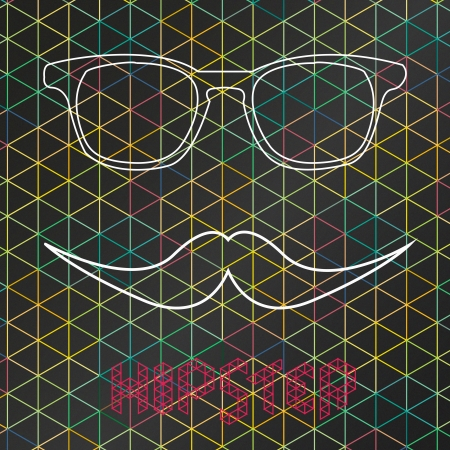 Hipster Background with glasses and moustache vector  Illustration