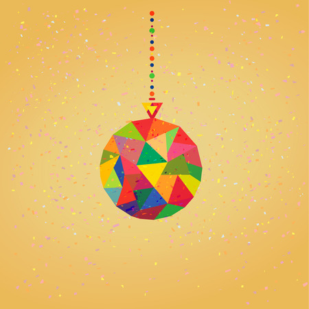 Christmas tree Decoration Ball hipster geometric style in vector