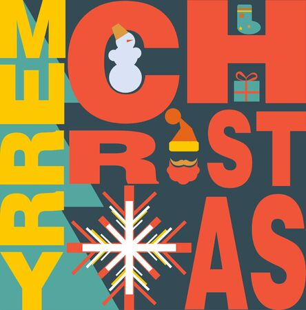 New Year and Merry Christmas Background abstract trendy retro style vector