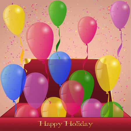 greeting card background: Holiday Ballons from red Box present Greeting card Background