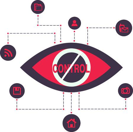 Total Control Spy surveillance technologie Vector Icons