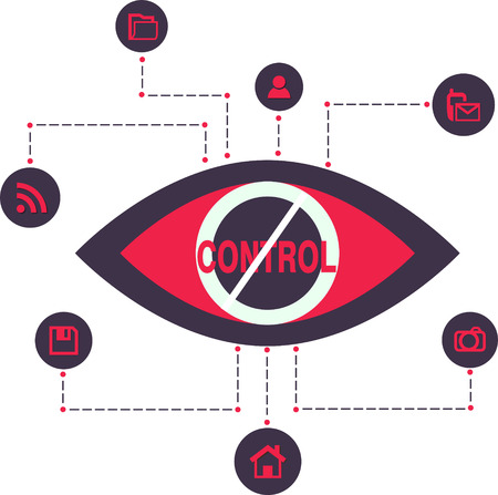 spying: Total Control Spy surveillance technology Vector Icons  Illustration