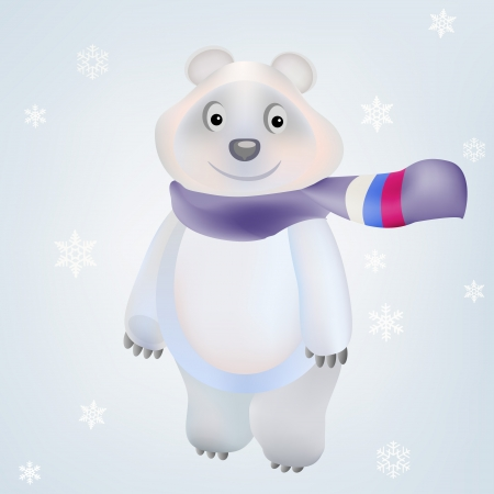 Smiling Polar Bear character with scarf russian flag and snowflakes on background winter season in vector