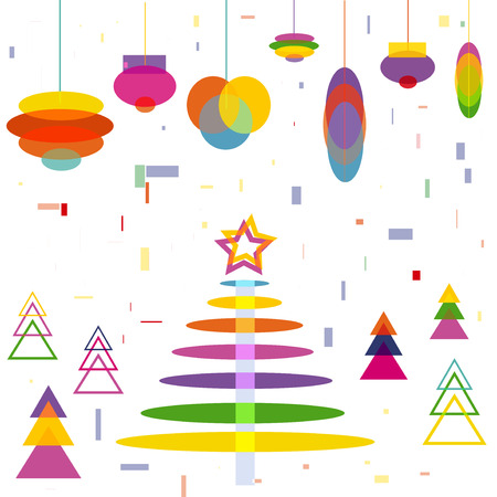 Abstract Christmas Tree with Decoration Balls toys cartoon Background symbol of New Year Holiday vector