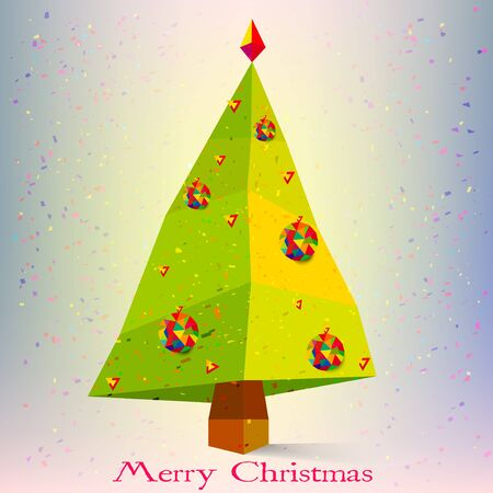 Abstract Christmas Tree with Snowflakes symbol of New Year Holiday vector Vector