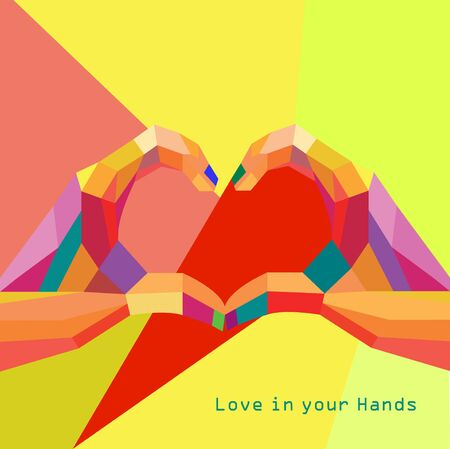 Love Heart in Hands Valentines day Greeting card geometric style and trendy colors Romantic relationship concept vector Illustration
